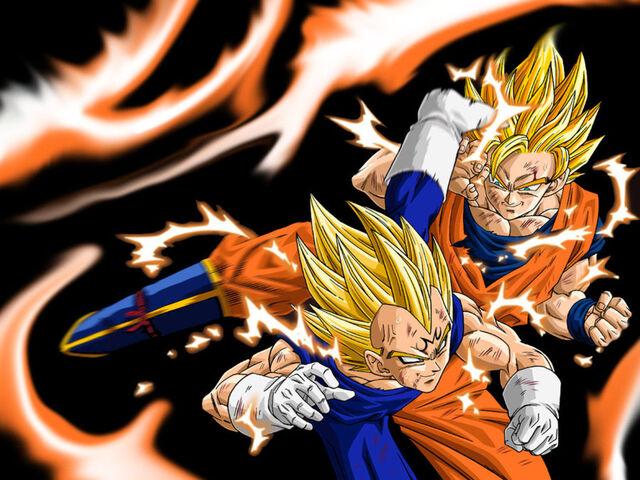 File:Goku SSJ2 vs Majin Vegeta Wallpaper.jpg