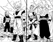 The Z fighters arriving at Cell Games