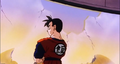 Gohan in the destroyed Capsule Corp