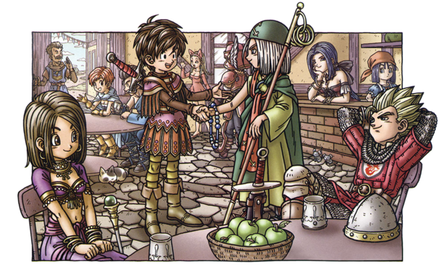 File:DQIX - Making friends at Quester's Inn.png