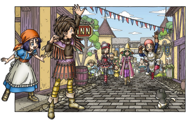 File:DQIX - People coming to Quester's Inn.png