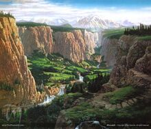 Mountains valley cliffs the lord of the rings fantasy art drawings ted nasmith rivers rivendell 1 www.knowledgehi.com 68