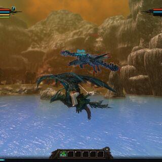 A player flying alongside Pale Radiance over Lake Krent