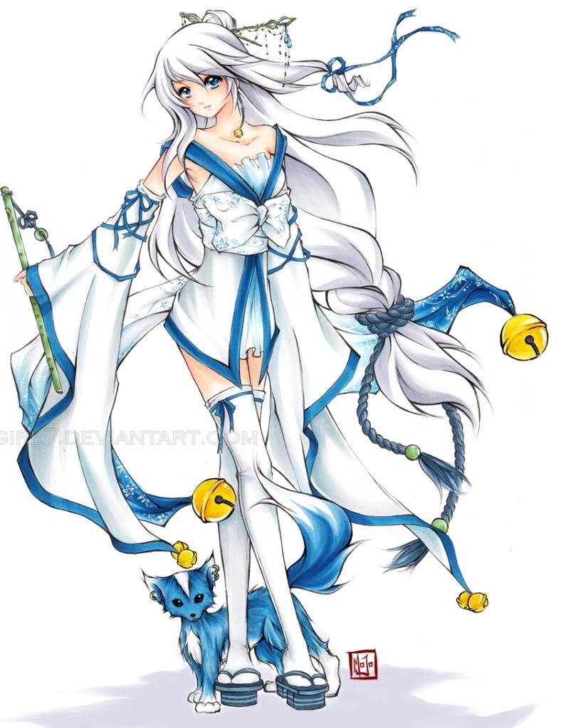 White hair blue fox