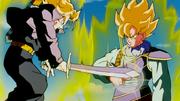 Trunks testing Goku power