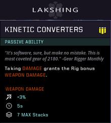 Kinetic converters gear