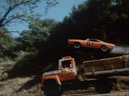 "General Lee jumping over an eighteen wheeler in episode ""A Little Game of Pool"""