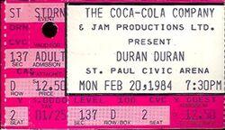 Duran Duran Concert Ticket Stub Feb 20 1984 Minneapolis st paul civic arena wikipedia usa