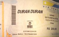Duran duran ticket brazil