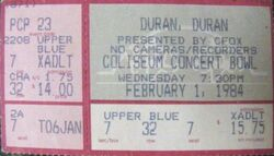 Vancouver BC (Canada), Pacific Coliseum wikipedia concert bowl duran duranticket stub
