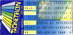 Ticket duran duran 13 april 1984