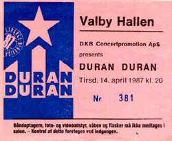 Ticket stubs Valby-Hallen, Copenhagen, Denmark duran duran tour show 14 april 1987