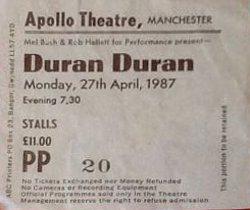 Apollo theatre manchester wikipedia ticket stub duran duran