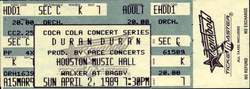 Music Hall, Houston, TX, USA. wikipedia duran duran ticket stub collection