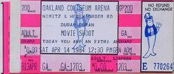 OAKLAND COLISEUM, OAKLAND CA., April 14, 1984 DURAN DURAN ALBUM TICKET STUB MOVIE SHOOT WIKIPEDIA VIDEO