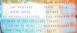 DURAN DURAN TICKET SEP. 30 1981 PARK WEST CHICAGO ticket stubs wikipedia tour