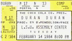 Duran duran ticket 14 february 1984
