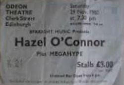 Edinburgh Scotland Odeon ticket stub hazel oconnor duran duran wikipedia megahype tour