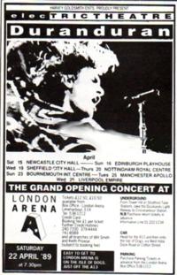 Duran duran advert 1989 tour