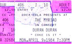 Ticket duran duran 9 april 1984