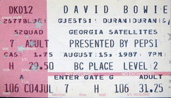 DAVID BOWIE- THE GLASS SPIDER TOUR 1987 DURAN DURAN and GEORGIA SATELLITES LIVE IN VANCOUVER AT BC PLACE STADIUM ON AUG. 15, 1987 wikipedia