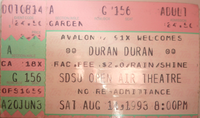 San Diego State University Open Air Amphitheater, San Diego, CA, USA wikipedia duran duran ticket stub