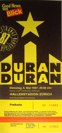 Ticket duran duran zurich 5 may 1987 SWITZERLAND