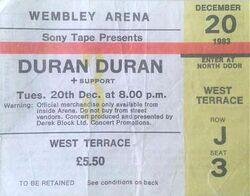 Wembley Arena, London (UK) - 20 December 1983 wikipedia ticket stub duran duran tour