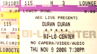 Ticket duran duran 9 november 2006 200