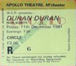 TICKET 1981 MANCHESTER DURAN DURAN