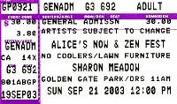Ticket 200 duran duran 21 september 2003 now & zen fest