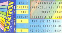 Ticket duran 5 april 1984