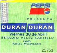 Ticket 30 april 1993 duran duran