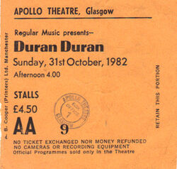 Apollo Theatre, Glasgow (UK) - 31 October 1982 wikipedia ticket stubs look at com duran duran