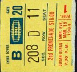 Ticket 19 march 1984 duran duran new york