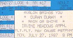 27 july 1987 duran ticket