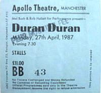 Ticket duran 27 april 1987