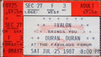 Ticket los angeles forum duran duran 25 july 1987