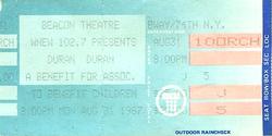 Duran ticket 31 aug 1987