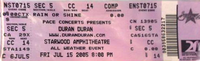 Ticket starwood apmhitheatre duran duran 15 jul 2005