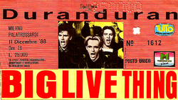 Ticket duran duran 11 december 1988 milano
