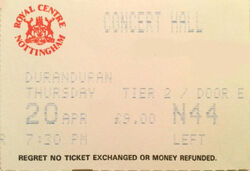 -Nottingham UK Royal Centre concert hall wikipedia duran duran ticket stub collection