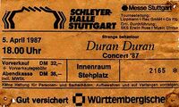 Ticket duran duran stuttgart april 1987-04-05 ticket