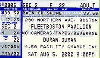 TICKET FLEETBOSTON PAVILLION - AUGUST 5, 2000 WIKIPEDIA DURAN DURAN