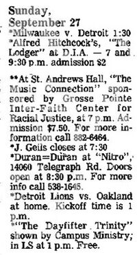 Date 09 - 27 - 1981Tour Duran Duran Venue Nitro Nitro, 14060 Telegraph Road, Redford, MI, USA wikipedia