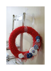 14 inch Partriotic Yarn wreath - Memorial day - 4th of July - Cottage decor - Country decor