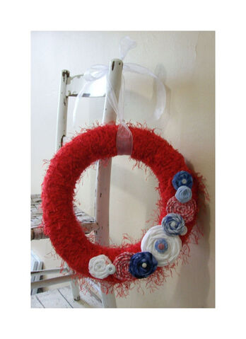 File:14 inch Partriotic Yarn wreath - Memorial day - 4th of July - Cottage decor - Country decor.jpeg