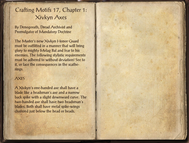 File:Crafting Motifs 17, Chapter 1, Xivkyn Axes.png