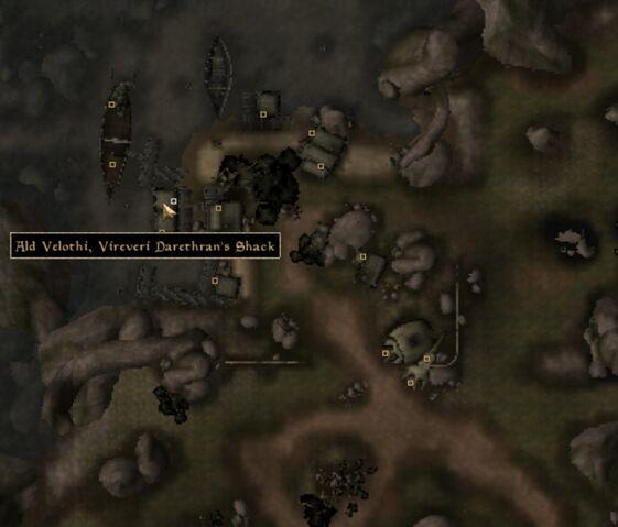 File:TES3 Morrowind - Ald Velothi - Vireveri Darethran's Shack - location map.jpg