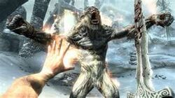 Frost Troll Fighting the Dragonborn